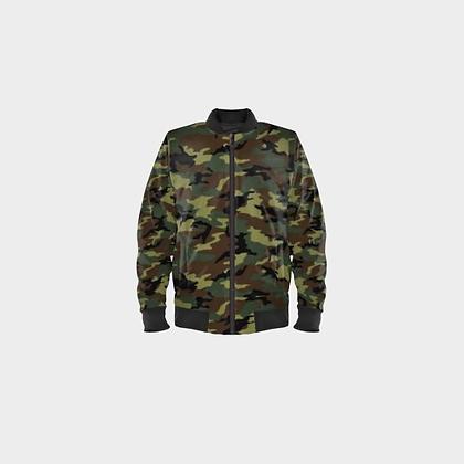 MEN'S BOMBER JACKET // Camouflage with Black Trim