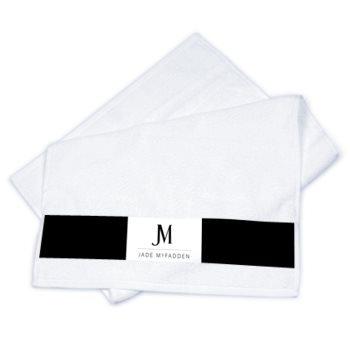 JM DESIGNER STRIP TOWEL SET  // Black & White, with JM Logo