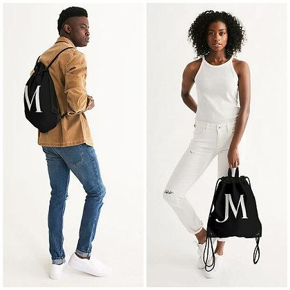 JM LOGO DOUBLE HANDLE CANVAS DRAWSTRING BAG // Black & White