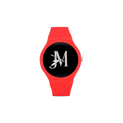ADULT JM LOGO ROUND RUBBER SPORT WATCH // Red, Black, & White