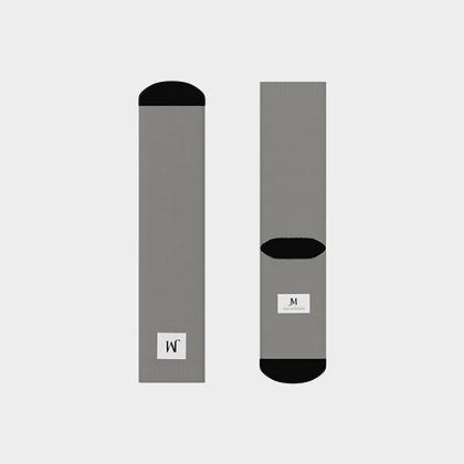 JM COMPANY LOGO CREW SOCKS // Grey, White, & Black