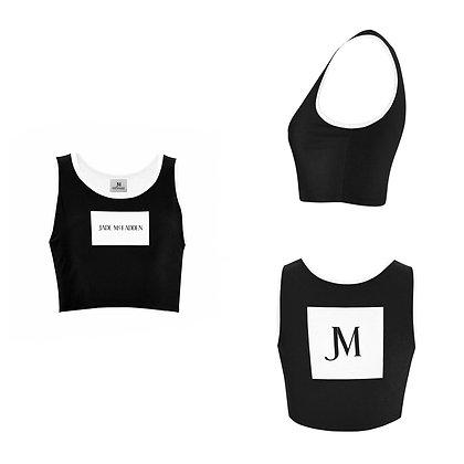 WOMEN'S JM COMPANY LOGO SPORTS BRA // Black & White