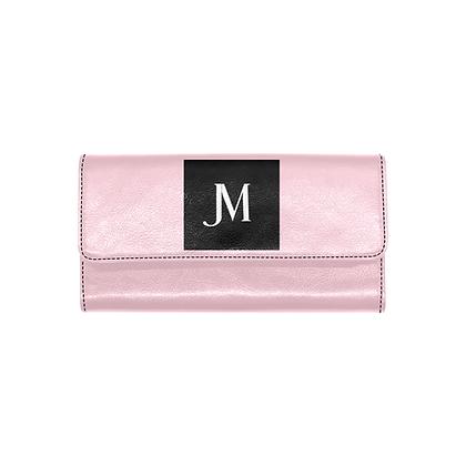 WOMEN'S JM LOGO TRIFOLD WALLET // Pastel Pink, Black, & White