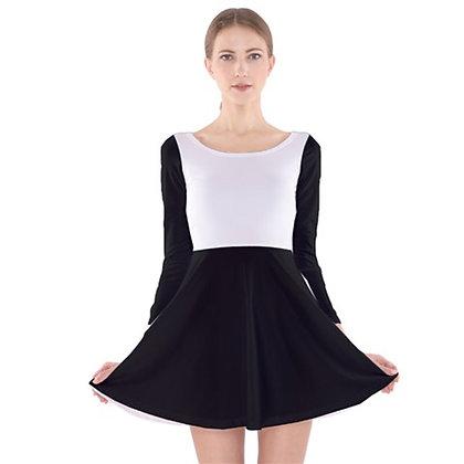 WOMEN'S LONG SLEEVE VELVET SKATER DRESS // Black & White