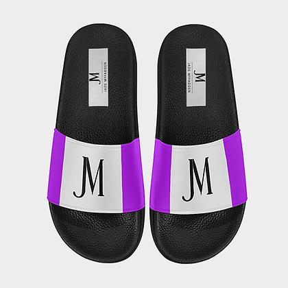 WOMEN'S JM LOGO SLIDE SANDALS // White, Black, & Neon Purple