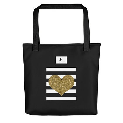 STRIPES & HEART TOTE BAG // Black, White, & Gold
