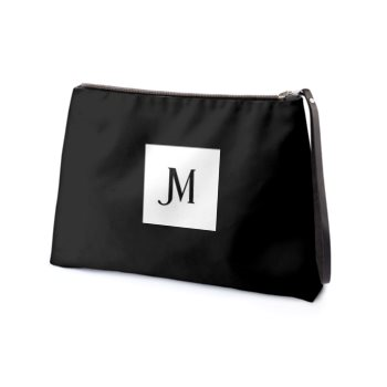 LEATHER JM LOGO CLUTCH // Black, with Printed JM Logo and Fuschia Interior