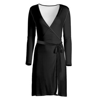 LONG SLEEVE WRAP DRESS // Black