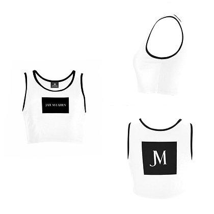 WOMEN'S JM COMPANY LOGO SPORTS BRA // White & Black