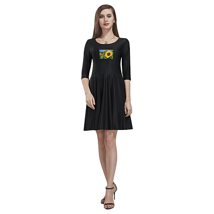 HALF SLEEVE SUNFLOWER SKATER DRESS // Black - Multicolored