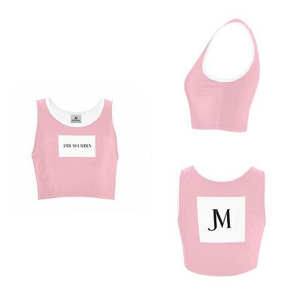 WOMEN'S JM COMPANY LOGO SPORTS BRA // Soft Pink, White, & Black