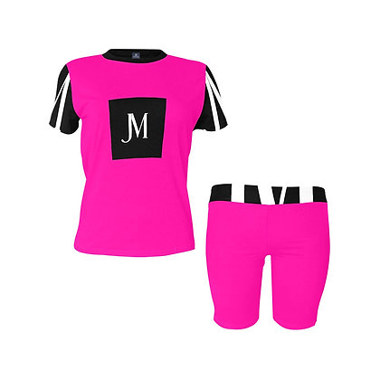 WOMEN'S JM LOGO TWO-PIECE ATHLEISURE SHORTS SET // Neon Pink, Black, & White