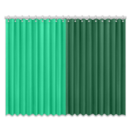DUAL COLOR WINDOW CURTAIN (Two-Piece) // Jade Green & Forest Green