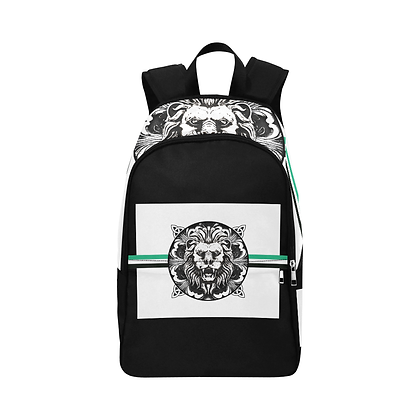 ROYAL COAT OF ARMS CASUAL UNISEX BACKPACK // Black, White, & Jade Green