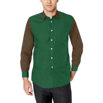MEN'S CLASSIC LONG SLEEVE BUTTON-UP SHIRT // Forest Green & Walnut Brown