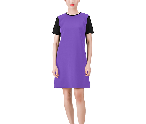 SHORT SLEEVE ROUND NECK A-LINE COLOR-BLOCK DRESS #2 // Multicolored