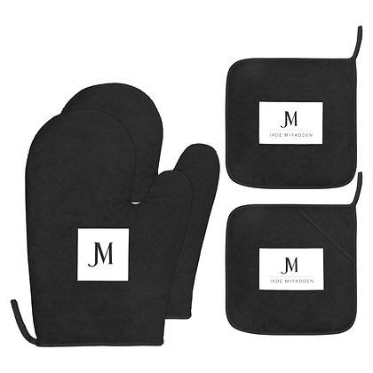JM COMPANY LOGO OVEN MITT & POT HOLDER 4-PIECE SET // Black & White