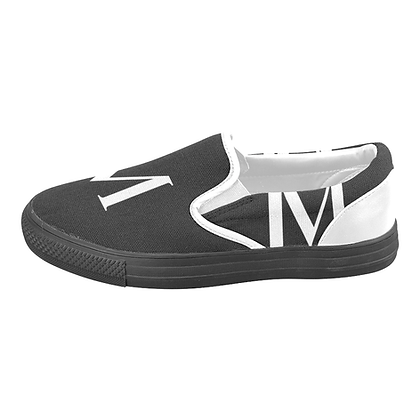 MEN'S JM LOGO CANVAS SLIP-ONS #2 // Black & White