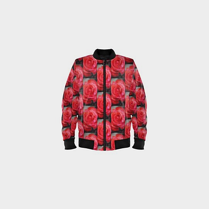LADIES ROSE BOMBER JACKET // Light Red with Black Trim