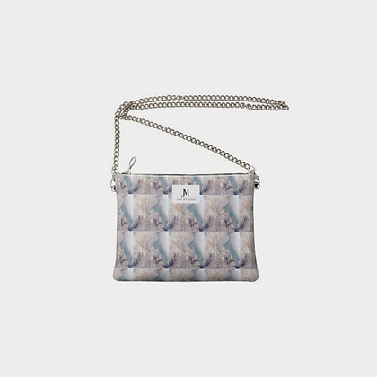 LEATHER COTTON CANDY SQUARED PRINT CHAIN CROSSBODY BAG // Multicolored Pastels
