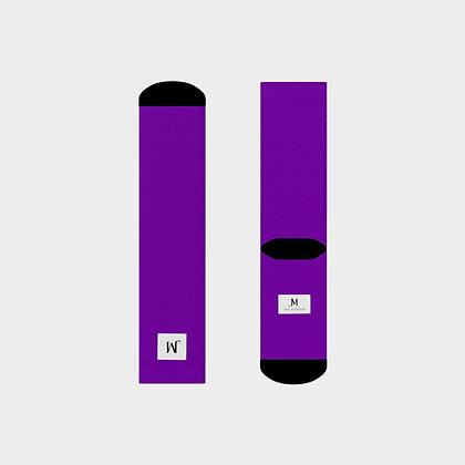 JM (JADE McFADDEN) COMPANY LOGO CREW SOCKS // Purple & Black