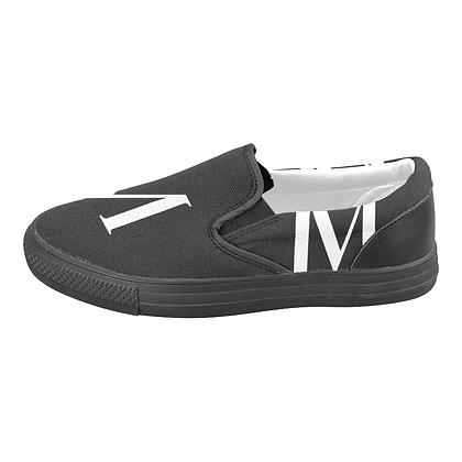 MEN'S JM LOGO CANVAS SLIP-ONS #3 (LARGE SIZES) // Black & White