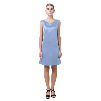 WOMEN'S ROUND NECK KEYHOLE BACK SHIFT DRESS // Periwinkle