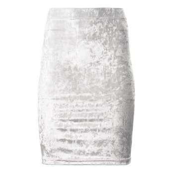 CRUSHED VELOUR PENCIL SKIRT // White