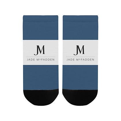 MEN'S JM COMPANY LOGO ANKLE SOCKS // Aegean Blue, White, & Black