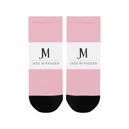 WOMEN'S JM COMPANY LOGO ANKLE SOCKS // Soft Pink, White, & Black