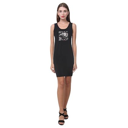 SLEEVELESS FLORAL PRINT BODYCON DRESS // Black & Dark Floral