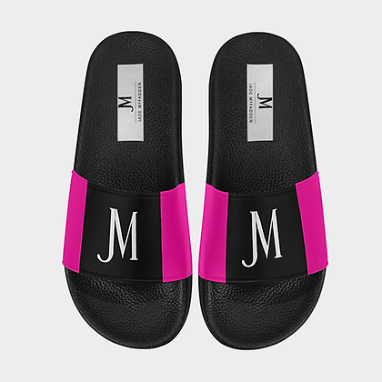 WOMEN'S JM LOGO SLIDE SANDALS // Black, White, & Neon Pink