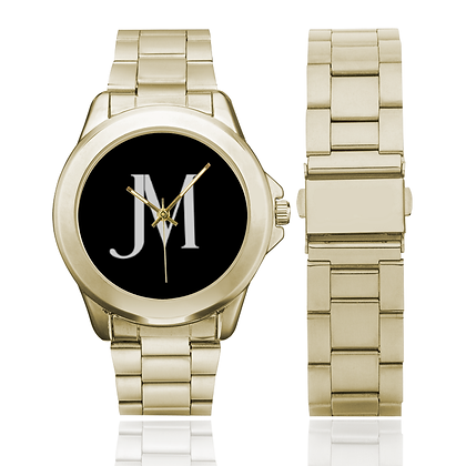 MEN'S JM LOGO GILT WATCH // Gold, Black, & White