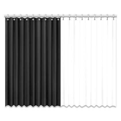 DUAL COLOR WINDOW CURTAIN (Two-Piece) // Black & White