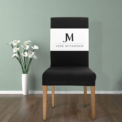 JM COMPANY LOGO REMOVABLE DINING CHAIR COVER // Black & White