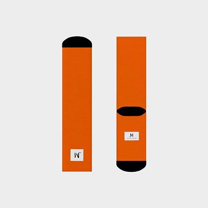 JM (JADE McFADDEN) COMPANY LOGO CREW SOCKS // Orange & Black