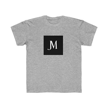KIDS SHORT SLEEVE JM LOGO REGULAR FIT TEE // Athletic Grey, Black, & White