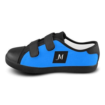BOYS JM LOGO VELCRO CANVAS SNEAKERS // Azure Blue, Black, & White