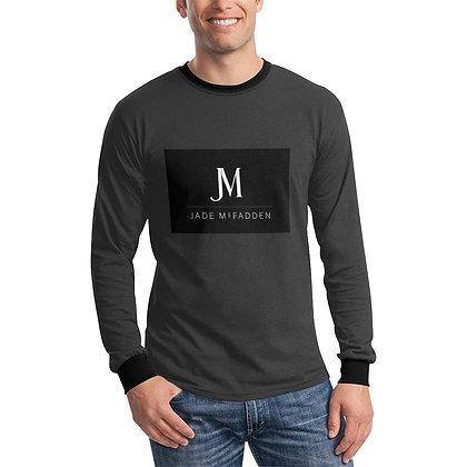 MEN'S JM COMPANY LOGO LONG SLEEVE T-SHIRT // Dark Grey, Black, & White