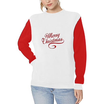 WOMEN'S MERRY CHRISTMAS PRINT RIB CUFF CREWNECK SWEATSHIRT // Multicolored
