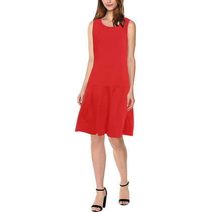 WOMEN'S SLEEVELESS SPLICING SHIFT DRESS // Red