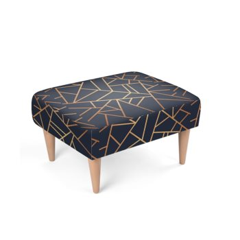 JM COMPANY ASYMMETRICAL ACCENT PRINT FOOTSTOOL // Blue & Gold