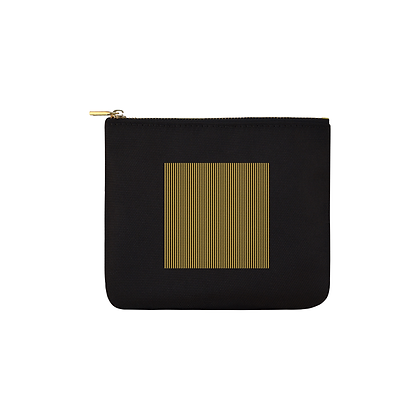 PINSTRIPED SQUARE PRINT CARRY-ALL CANVAS POUCH (SMALL) // Black, Gold, & White