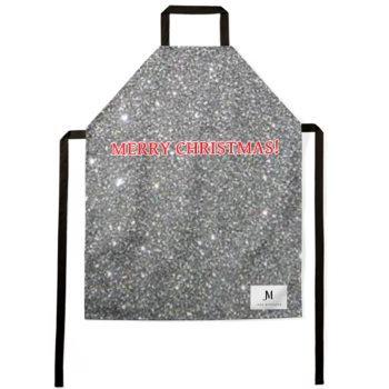 MERRY CHRISTMAS APRON // Silver Sparkle Print, Red, & White, with JM Logo
