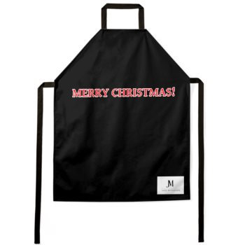 MERRY CHRISTMAS APRON // Black, Red, & White, with JM Logo