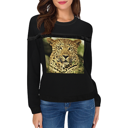 WOMEN'S LEOPARD GRAPHIC CREWNECK FRINGE SWEATSHIRT // Black