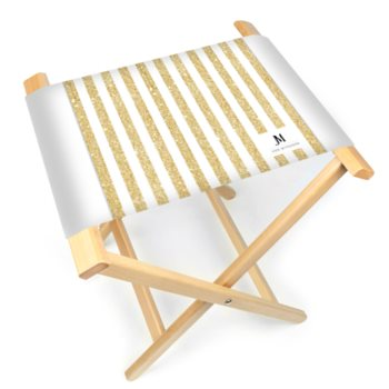 JM SPARKLE STRIPED FOLDING STOOL CHAIR // Gold & White w/ JM Company Logo
