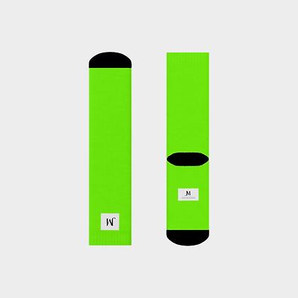 JM (JADE McFADDEN) COMPANY LOGO CREW SOCKS // Neon Green