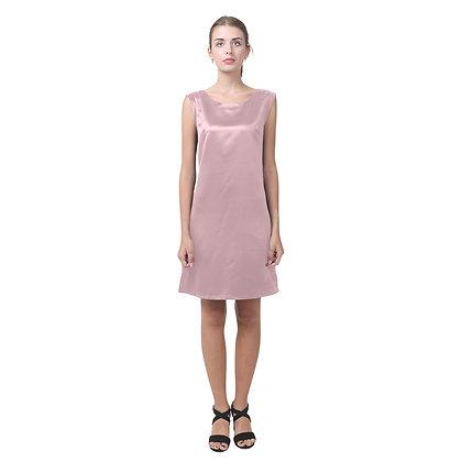 WOMEN'S ROUND NECK KEYHOLE BACK SHIFT DRESS // Light Mauve