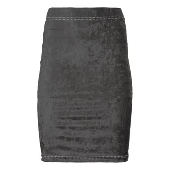 CRUSHED VELOUR PENCIL SKIRT // Grey